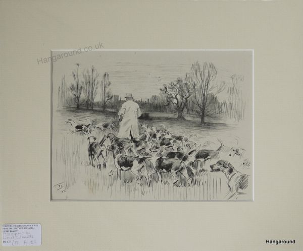 Hounds - walking out with Kennel Man - H E14 - 1930's print by Lionel Edwards